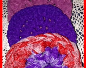 Lot 3 Nylon Scrubbers SCRUBBIES Crocheted Rose Purple Red & White
