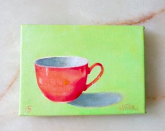 Tea cup - original still life - oil painting - small painting