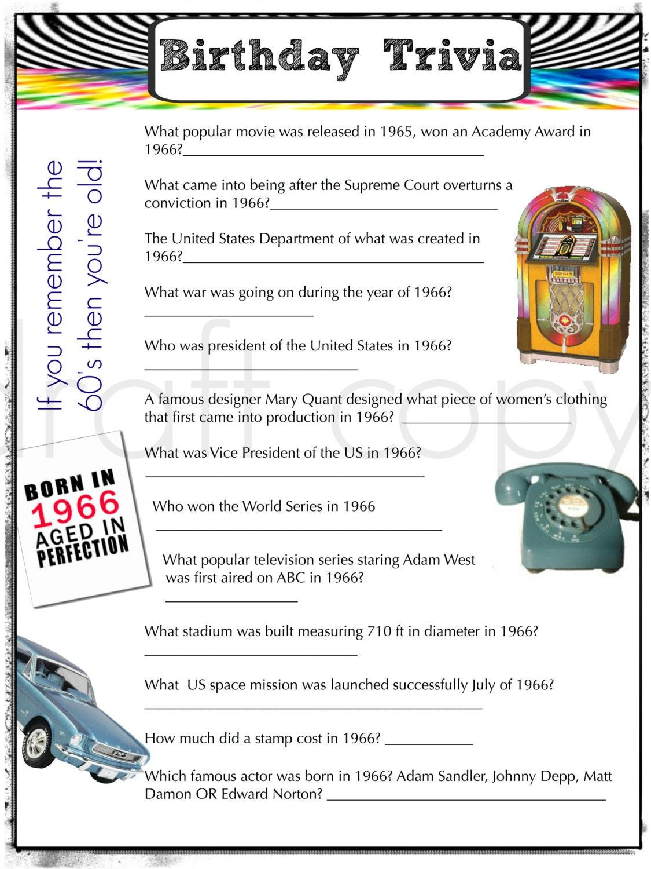 1966 Birthday Trivia Game Birthday Party Trivia Instant ~ 220244_Birthday Party Ideas Quiz