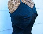 Van Raalte Petal Skin Black Bullet Bra Full Slip ~ Made in U.S.A.  ~  Vintage 50's