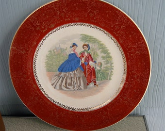 """Century by Salem 11"""" Dinner Plate or Charger ~ Victorian Scene ~ 23 Karat Gold Made in USA"""