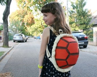 Orange Turtle Backpack, Festival Bag, Funny Rucksack, Canvas Backpack for Kids and Teens