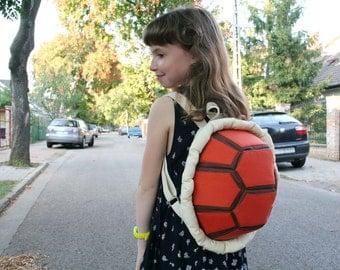 Orange Turtle Backpack, Festival Bag, Funny Rucksack, Canvas Backpack for Kids and Teens
