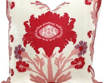 Pink and Red Floral Pillow Cover, Quadrille Henroit, Eurosham or Lumbar pillow, Accent Pillow, Throw Pillow, Toss Pillow, Trellis Pillow