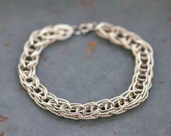 Chunky Chain Bracelet - Sterling Silver - Horseshoe Links