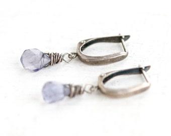 Purple Glass Teardrops - Dark Sterling Silver Earrings