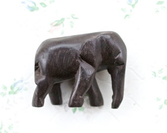 Ebony Baby Elephant - Carved black Wood Sulpture - Small Figurine - Souvenir From Africa