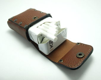 Handmade genuine leather cigarette case, holds 20 cigarette/leather mini bag for cigarette/gift ideas/personalized/Tobacco Pouches for belt