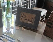 """CARDS - 5 X 7"""" Burlap frame insert - Shabby chic weddings or parties"""