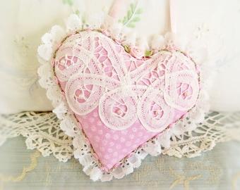 Heart Ornament Heart Door Hanger, 6 inch Heart Pillow, Pink Elegant Pillow, Cottage Chic, Handmade CharlotteStyle Decorative Folk Art