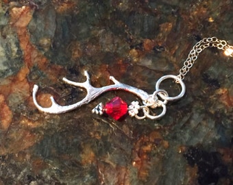 Petite Silver Antler on Sterling Silver Chain Necklace, Dainty Jewelry for All Ages, Red Crystal Bead Charm, January Birthday, Simplistic