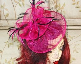 Hot Pink Kentucky Derby Hat - Fuchsia and Black Fascinator Hat - British Tea Party Hat - Wedding Fascinator Hat with Birdcage Veil