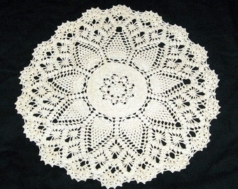 Large, Spectacular Crocheted Doily, 18 Inches