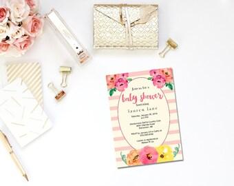 Printable pink striped baby shower invitation / Spade inspired baby shower / striped baby invite / Kate baby invite / flower invite
