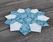 Winter Snowflake Candle Mat - Christmas Dresden Plate Quilted Table Topper - Xmas Holiday Decor Table Mat - Teal Cream White