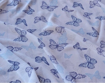 retro vintage blue butterfly white  chiffon fabric one yard for dress diy