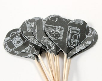 Vintage Camera Cupcake Toppers, Heart Cake Toppers, Camera Love, Photographer Gift, Set of 12