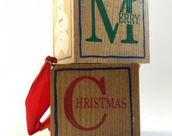 Hallmark Ornaments / 1987 / Ornaments / Block Merry Christmas
