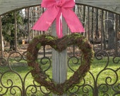 Heart Wreath - Valentine Wreath - Pink Wreath - Spring Wreath - Choose Bow
