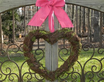 Heart Wreath - Valentine Wreath - Pink Wreath - Spring Wreath - Choose Bow - Quick Ship