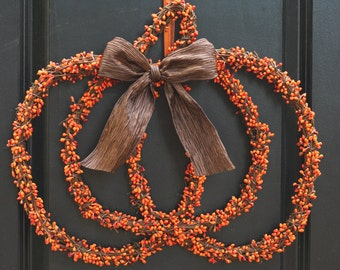 Thanksgiving Wreath - Fall Wreath - Berry Wreath - Halloween Wreath - Pumpkin Decor - Ready To Ship