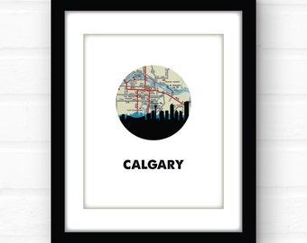 Calgary, Alberta skyline   Calgary skyline   Calgary, Alberta, Canada map   Canada print   Canadian decor   vintage map art