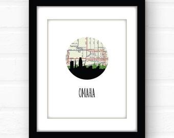 Omaha Nebraska Map Art Omaha Map Print Omaha Skyline Print Nebraska Home Decor