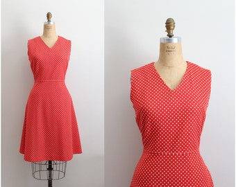60s Red Polka dot Dress / 1960s Scooter dress/ Fit And Flare Dress / Size M/L