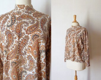 60s white brown kaki paisley printed knit sweater L