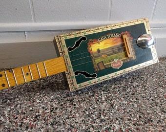 Cigar Box Guitar - 3 string, green