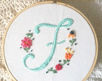 Monogram embroidery hoop, custom, hoop art, initials, 6 inches
