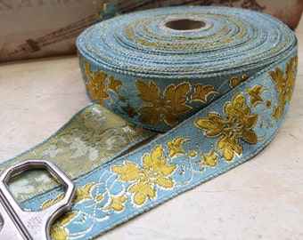 "1"" Vintage French Brocade Ribbon Trim #182-07 Metallic GOld, Gold, and Antiqued Light blue"