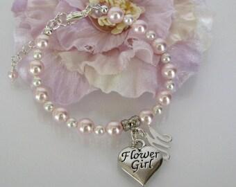 Pearl Flower Girl Bracelet-Flower Girl Bracelet-Pink Flower Girl Bracelet-Junior Bridesmaid Bracelet-Flower Girl Gift-Custom Flower Girl