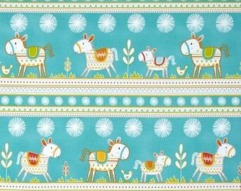 25233  Dena Designs Happi Horses Horse Stripe in Turquoise  color  PWDF218 - 1 yard