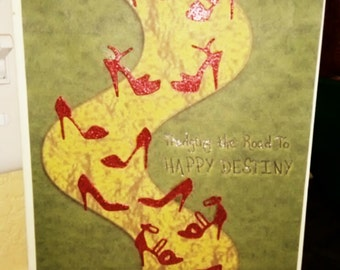 Unique 12 step greeting card Ruby  Red shoes on yellow path