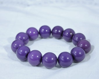 Bright Purple Large Bead Stretch Bracelet