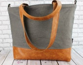 Extra Large Lulu Tote Overnight Diaper Bag Charcoal Linen and PU Leather -READY to SHIP Beach Dance Travel Bag 7 pockets