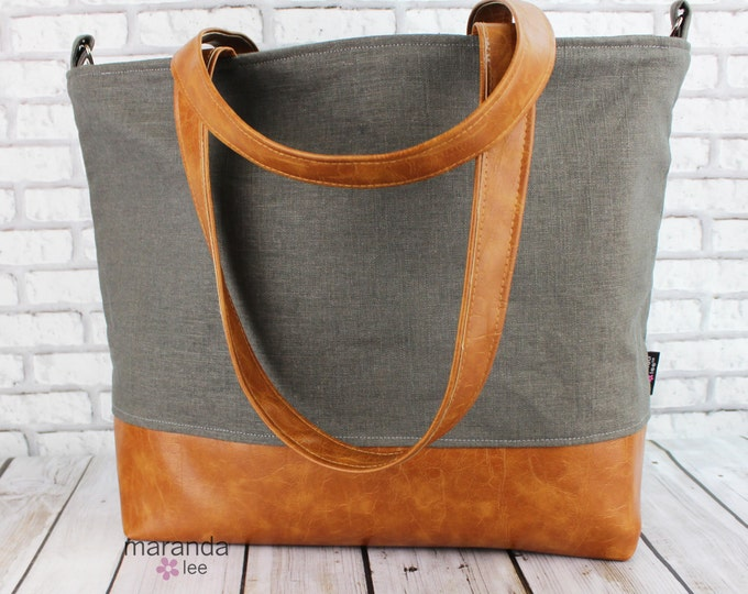 Extra Large Lulu Tote  Charcoal Linen READY to SHIP