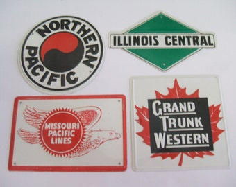 Vintage Tin Railroad Signs Miniature  Post Cereal 1950 Model Railroad Trains Northern Pacific Illinois Central
