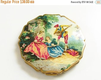 SaLe Vintage Stratton Enameled Powder Compact Victorian Revival Lovers Courting