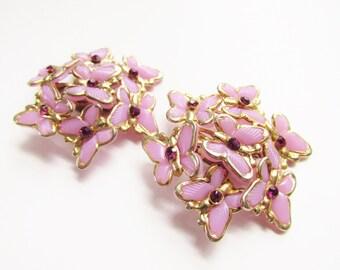 Large Vintage Purple Butterfly Rhinestone Earrings 1960s clip on MoD Mid Century