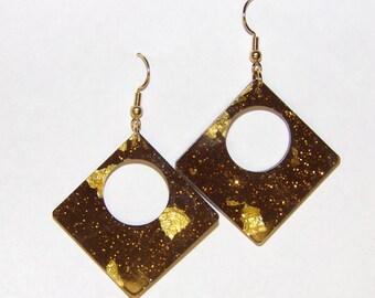 Fashion Earrings, Brown Earrings, Large Earrings,  Diamond Drop Earrings