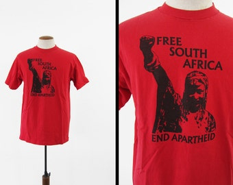 Vintage Africa Apartheid T-shirt Free South Africa 90s Red Cotton - Size XL