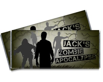 Zombie Apocalypse Candy Bar Wrappers - Zombie Birthday Party Favors - Set of 12