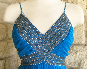 Vintage 1960s Mike Benet Blue Chiffon Evening Gown - Formal Dress AB Rhinestones - 60s