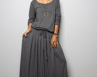 Maxi Dress -  Long Sleeve Top Grey dress : Autumn Thrills Collection No.1s  (Best Seller)
