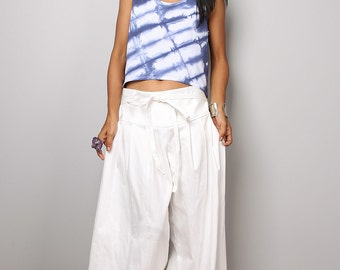 White Pants - Wide Leg Pants - White Denim Pants :  Soul of the Orient Collection