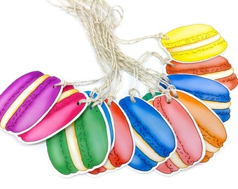 Macaroon Gift Tag Set - Large Rainbow Macaroon Party Gift Embellishments - 12 Sweet Gift Tags   Scrapbooking Novelty Gift Tags. Party Labels