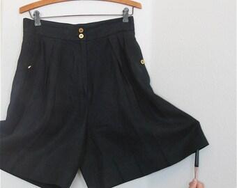 Coco Chanel Shorts Black Linen High Waisted Shorts Gold CC Logo Walking Shorts Size 42 size 10 US Size 14 Au 14 UK
