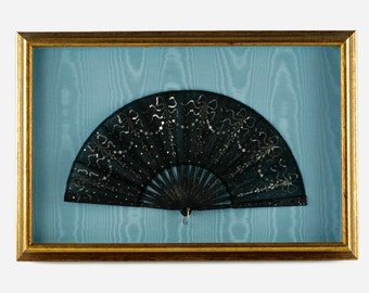 Antique Victorian Spangled Sequined Black Mourning Fan in Shadowbox Frame - Blue Moire Silk Lining